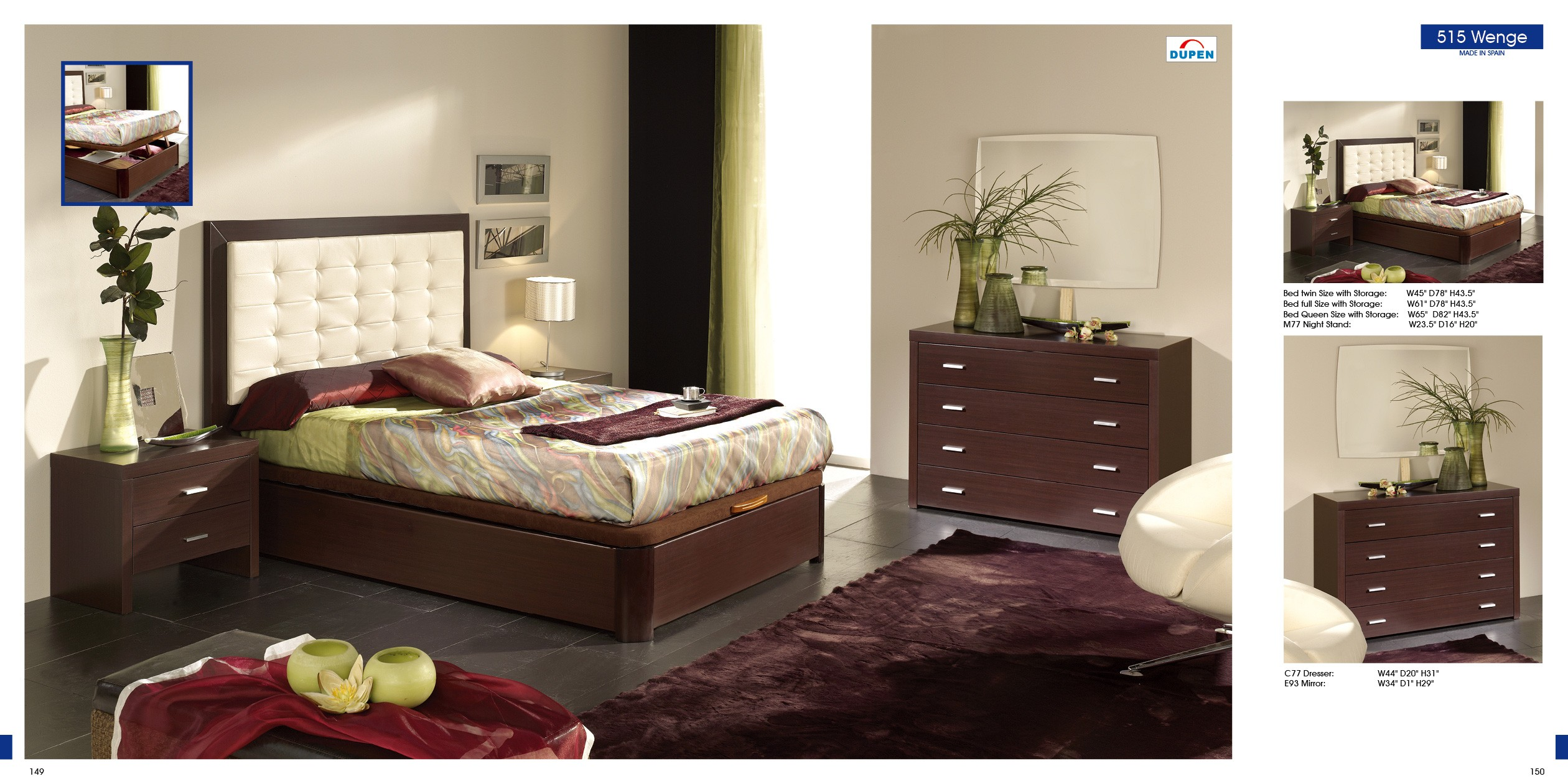 ESF Twin Size Beds Alicante 515 Wenge, M77, C77