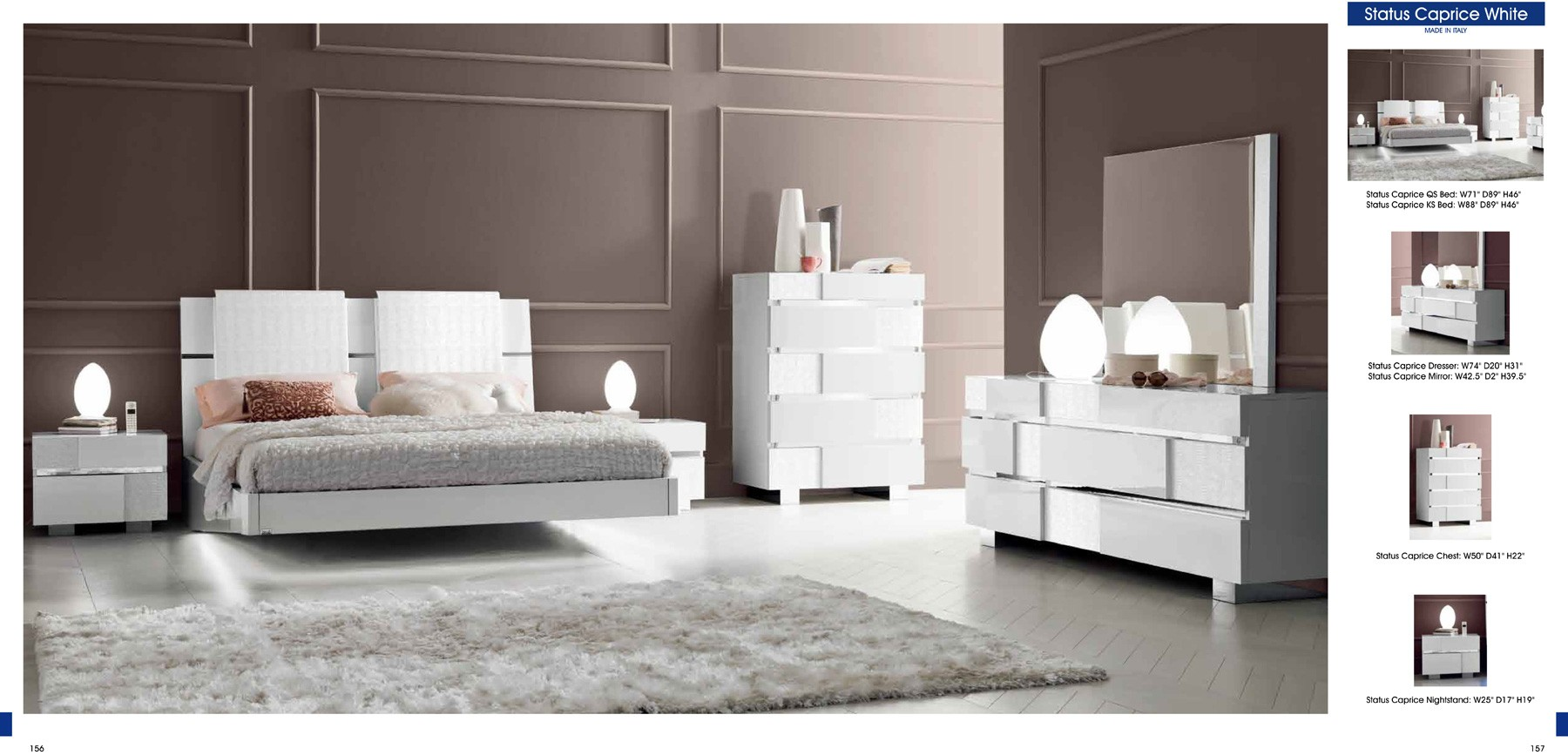 ESF Modern Bedrooms Status Caprice Bedroom White