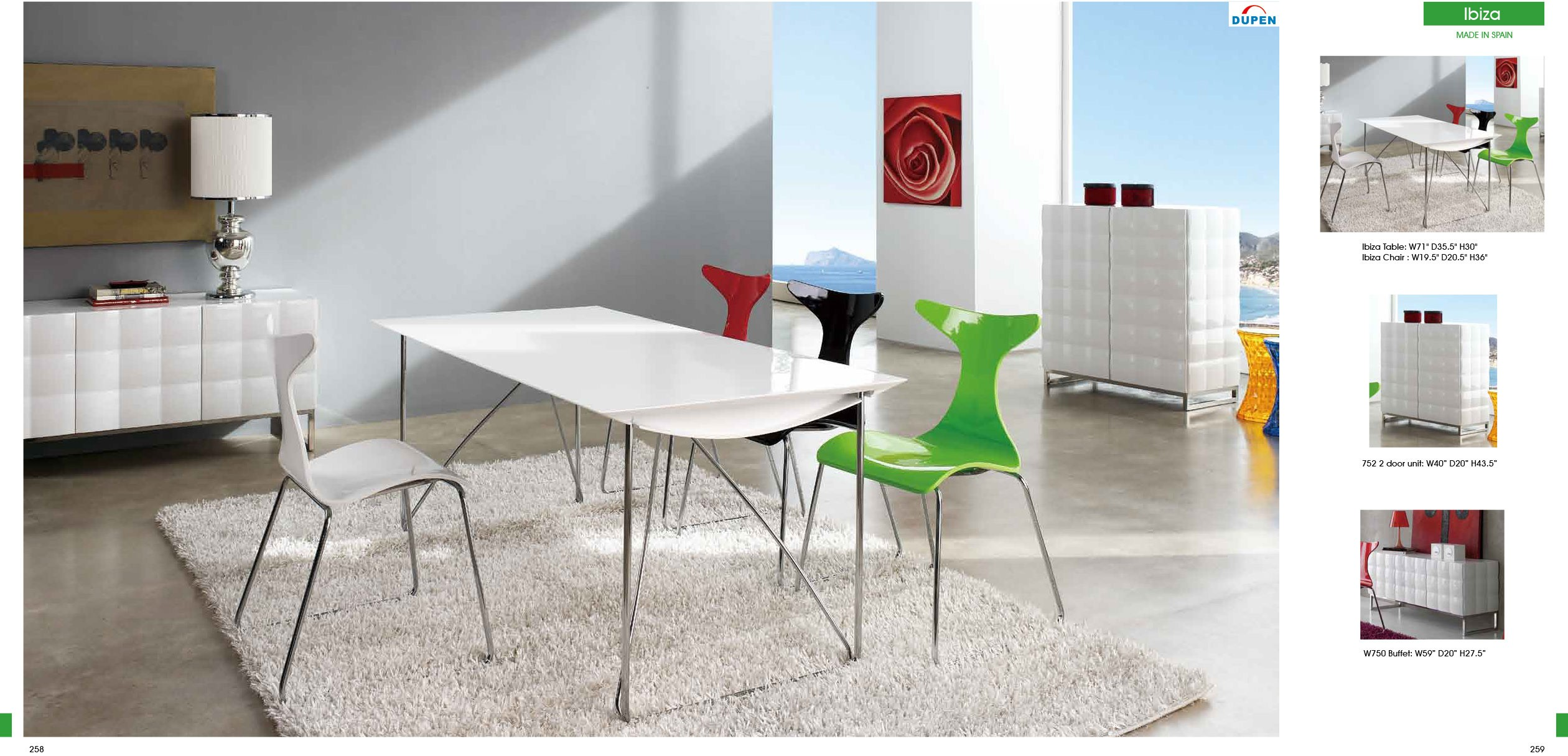 ESF Dupen Dining Spain Ibiza Table DT03 w/Ibiza Chairs CH1002, 752 unit, 750 buffet