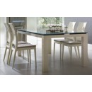 Diamond Dining Table Set in Ivory Lacquer Finish