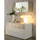 Diamond Dresser w Mirror in Ivory Lacquer Finish