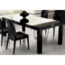 Diamond Glass Top Dining Table in Black Lacquer Finish
