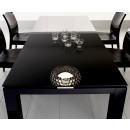 Diamond Wooden Top Dining Table in Black Lacquer Finish