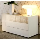 Diamond Dresser w 3 Drawers in Ivory Lacquer Finish