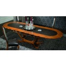 Platinum Oval Dining Table in Light Walnut Finish