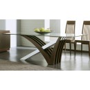 Mirage Clear Glass Dining Table in Wenge Finish